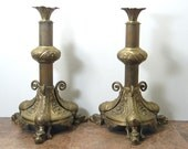 Antique Gothic Brass Candlesticks w/ Dragon Feet