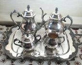 Silver Plate Tea Service w/ Large Tray