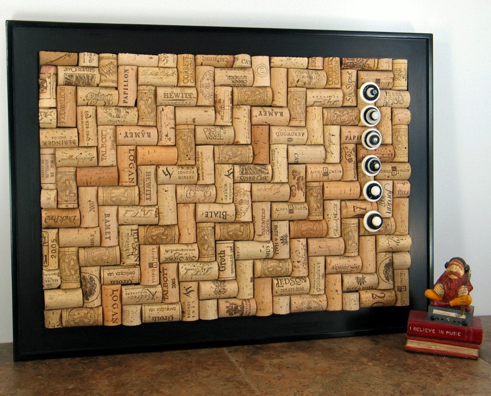 large herringbone wine cork bulletin board by