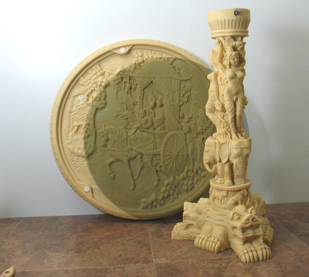 Faux ivory relief carved table