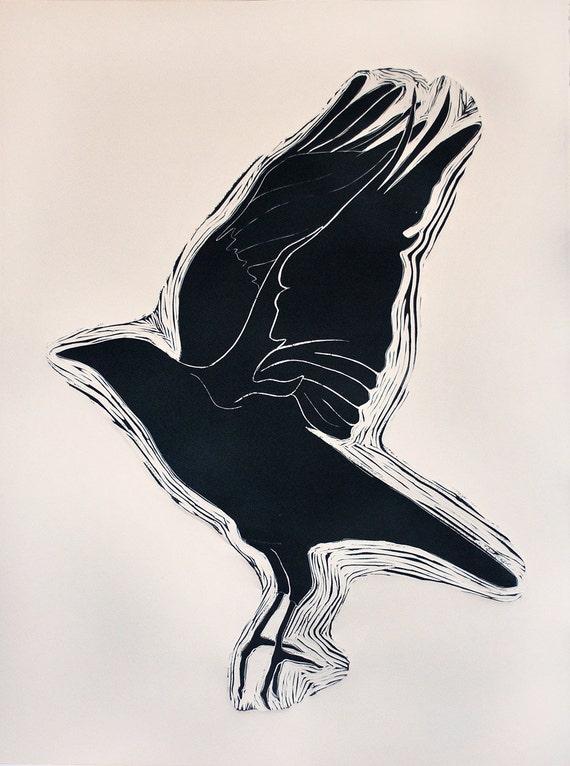 Raven in Flight: large linocut print