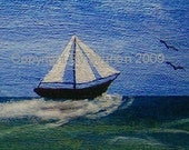 Grand Opening Sale -- Summer Sailing -- 5x7  -- Signed Art Card Print - mini print within 5x7
