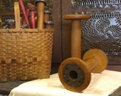 Large Wooden Spinning Bobbin with Metal Center