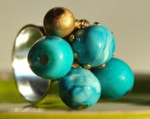 Bright turquoise and gold bead ring- adjustable