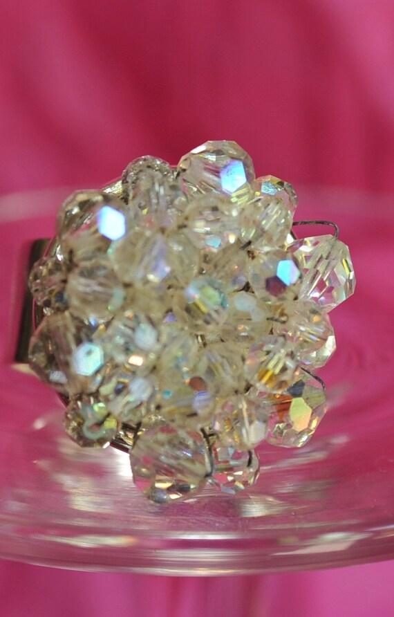 Cocktail ring. Adjustable. Crystal bead cluster. Repurposed vintage.