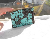 Southern Sweet Ts SMALL ZIPPER POUCH in chocolate and aqua flowers with lobster clasp key chain accessory