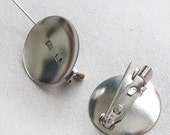 50 pcs 18mm Round Pin Back(Pinback) for Corsage, Cameo, Cabochon, Brooch, Bow and Button etc..