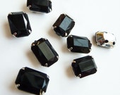 10 pcs of  8mm X 10mm Faceted Rectangle Sew On Black Rhinestone W/Metal Prong..Nickel Free..Rhodium Plated Over Brass