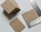 """200 pcs of Small Blank Earrings Card in Brown Kraft Paper for Accessories Jewelry(1 3/16"""" X 1 1/2"""")"""