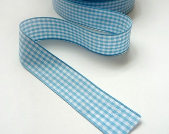 4 Yards of 5/8inch (15mm) Blue and white Gingham Plaid Ribbon for Jewelry, Accessories, Clothing