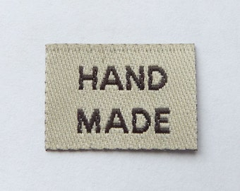 50 pcs of 20mm X 15mm Hand made Woven Label in Beige for Accessories, Jewelry, Clothing