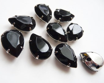 20 pcs of  11m X 15mm Faceted Teardrop Sew On Black Rhinestone W/Metal Prong..Nickel Free..Rhodium Plated Over Brass