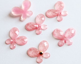 10 pcs of  21mmX18mmX2.5mm Faceted Pink Butterfly Epoxy Acrylic Flatback Rhinestone in 7 colors