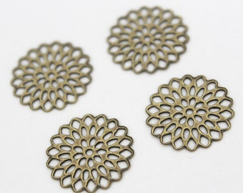 10pcs 14mm Antique Brass Filigree Base Setting Jewelry and Accessories