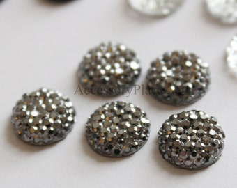 10 pcs of  12mm Faceted Round Cut  Metallic Gray Formica Bead