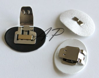 12pcs of Shoes Clips with Synthetic Leather Pad Backing in White and Black (Leather..28mmX22mm)