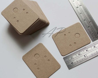"""100 pcs of Small Blank Earrings Card in Brown Kraft Paper for Accessories Jewelry(1 3/16"""" X 1 1/2"""")"""