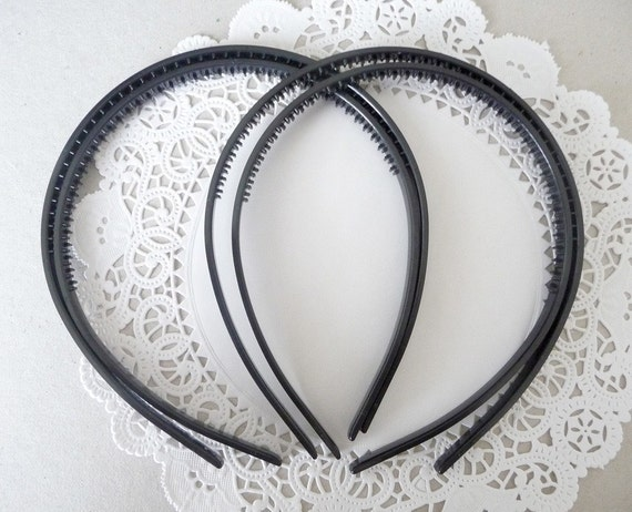 5 pcs New and Improved Style..7mm Thin Black Plastic  Headband with Teeth..