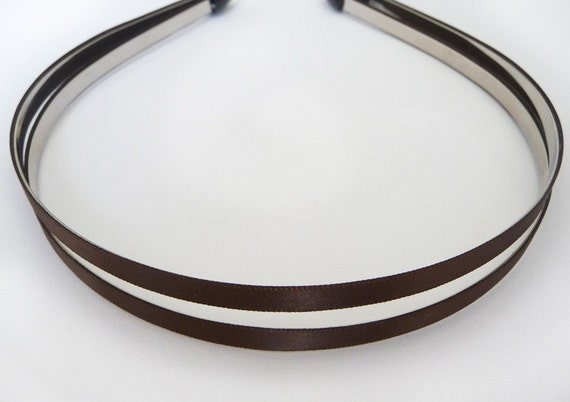 4pcs..6mm(1/4inch) Satin Ribbon Covered Metal(Steel) Headbands in Chocolate Brown with Comfortable Rubber End Tip
