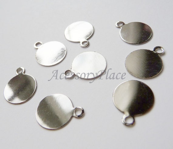 50 pcs.. Silver Tone 10mm Pendant Charm Base... for Accessories and Jewelry