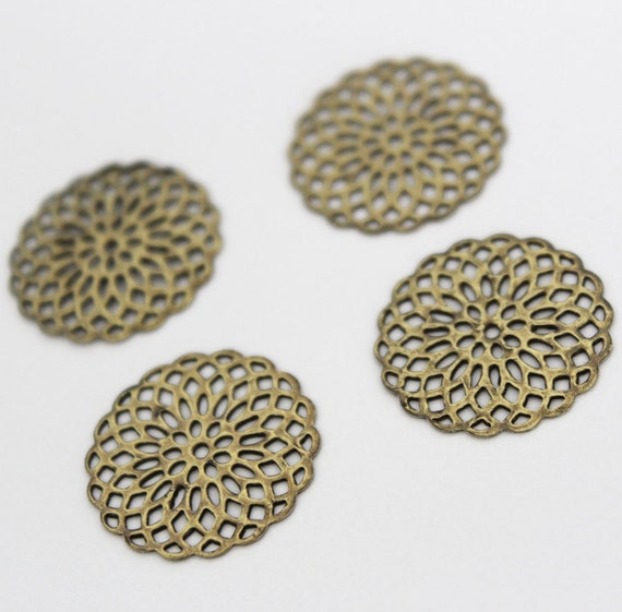 10pcs 20mm Antique Brass Filigree Base Setting Jewelry and Accessories..