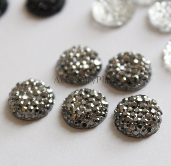10 pcs of  10mm Faceted Round Cut  Metallic Gray Bead