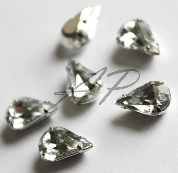 10 pcs of  8mm X13mm Faceted Teardrop Sew On Clear Rhinestones W/Metal Prong NO NICKEL Rhodium Plated Over Brass
