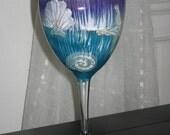 Hand Painted Wine Glass Shells