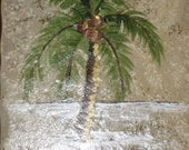Hand Painted Tile Trivet Palm Tree