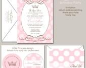 Pink Princess Birthday Invitation, Royal Princess, Royal Crown, Tiara, Polka Dots
