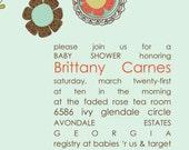 Mint Green Baby Shower Invitations BoHo Bohemian Doodle Flowers Aloe Vera Green Chic Modern Stylish Fresh Coral Invites
