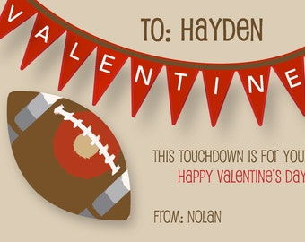 Valentine's Day Cards for Kids - Touchdown Football