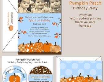 Fall Photo Pumpkin Patch Birthday Invitation