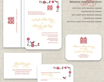 Chinese Wedding Invitations, Double Happiness Wedding Invitations, Asian Wedding, Tea Ceremony, Red & Gold, Traditional, Bird