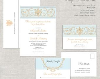 Fleur de Lis Wedding Invitations, Baroque Wedding Invitation, Wedding Invites, Pale Blue & Gold, Antique, Script, Romantic, Vintage