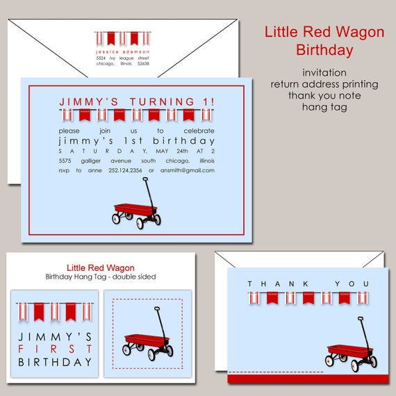 Little Red Wagon Birthday Invitation Radio Flyer Pennant Banner by – Red Wagon Birthday Invitations