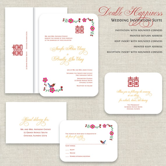 DOUBLE HAPPINESS Wedding Invitation Set  This design is printed to 130lb textured Linen cover weight card stock in white. This stock is luxuriously thick! All d