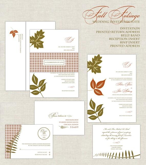 Fall Color Wedding Invitations: Fall Foliage Wedding Invitations, Autumn Leaves Wedding