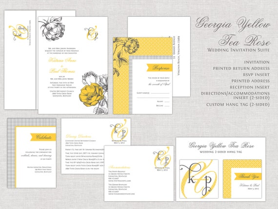 Yellow Roses Wedding Invitations, Vintage Tea Rose Wedding Invitation, Wedding Invites, Old World, Classic, Traditional, Rustic, Monogram