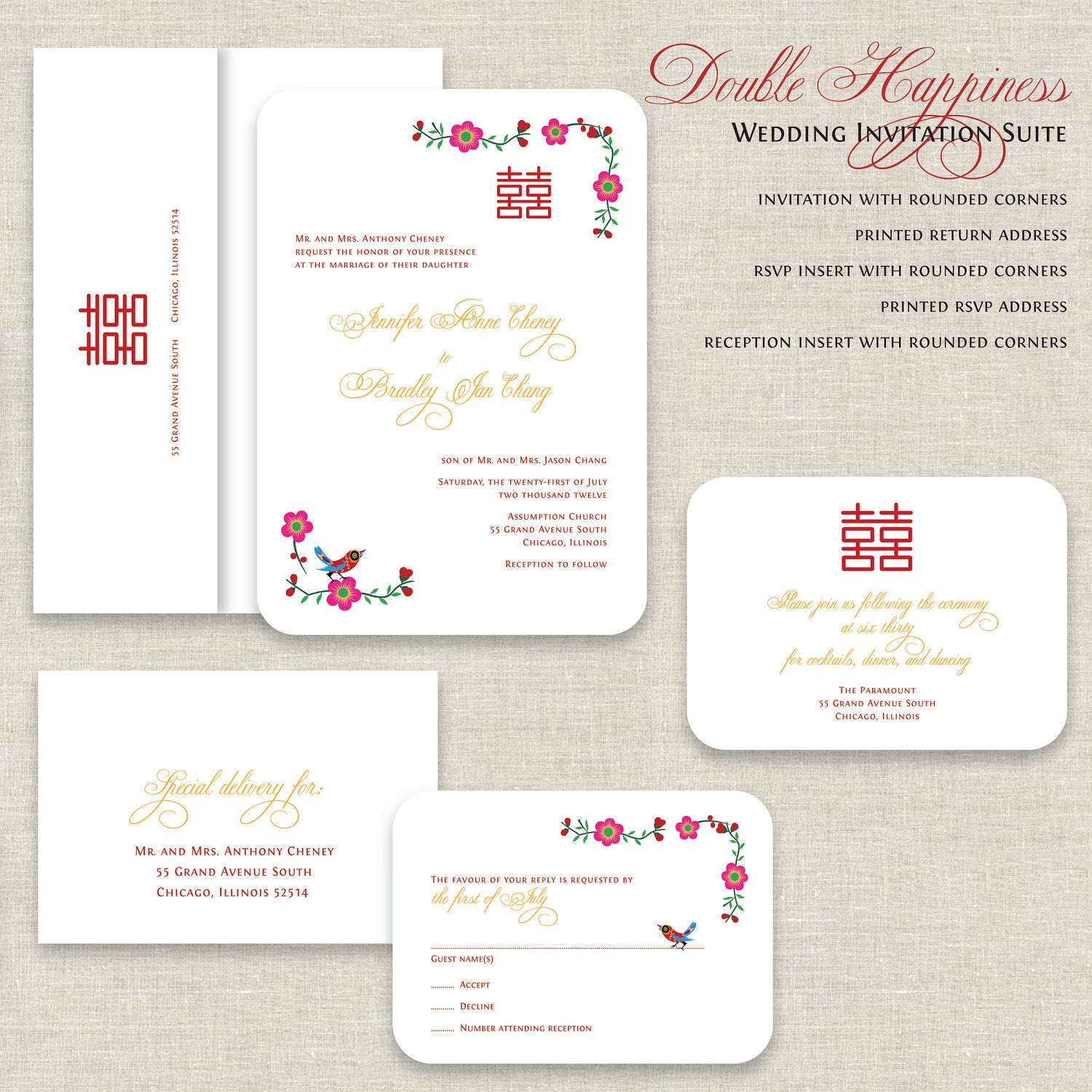 chinese wedding invitations double happiness wedding