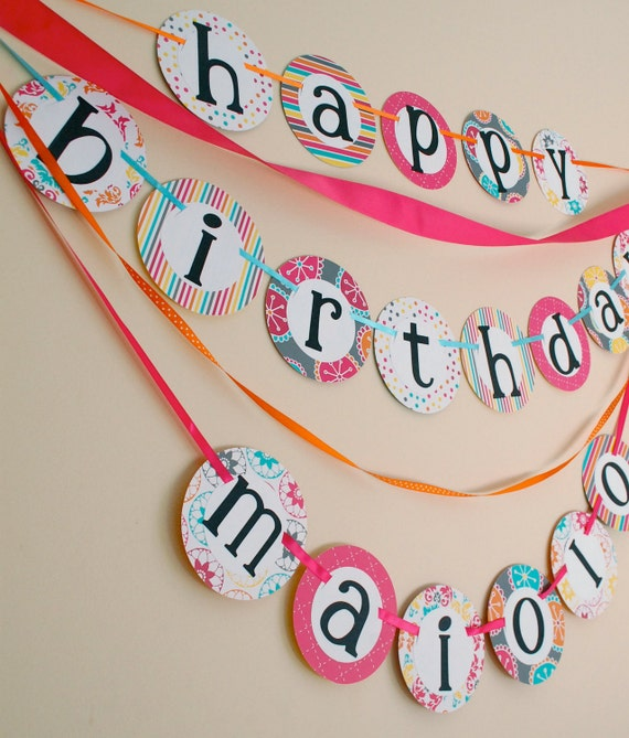 Items Similar To Custom HAPPY BIRTHDAY BANNER With Name