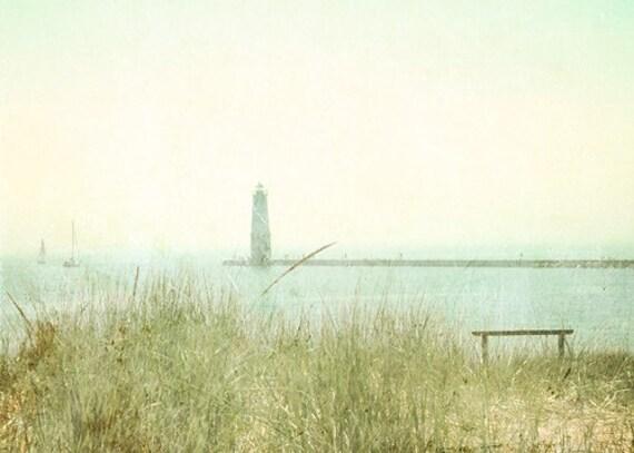 Sailboat Lighthouse Photograph 5x7 beach art ocean print shark week water adventure blue, green lake michigan holiday wall art