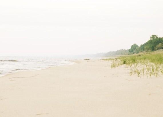 Beach photography beach photograph 5x7 lake michigan ocean shoreline  fine art print cottage chic modern art grey blue green
