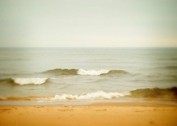 Beach photography beach photograph ocean photograph 5x7 stormy nautical art print lake michigan fine art grand haven grey gold white