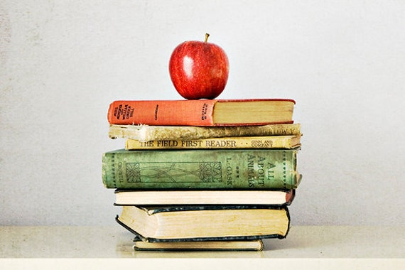 Vintage book photograph 5x7 book photography fruit photograph retro wall art literary print apple fine art teacher gift red yellow green