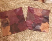 Custom Order for Jeannine- Scattered Leaves Leather Pillow Covers in warm browns