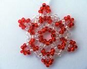 Beaded Christmas Snowflake Ornament