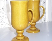 Reserved for Ulrike. 50% OFF. Vintage mustard Irish coffee mugs.