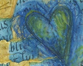 Blue & Ochre HEART ACEO - ECO Original Art Collage