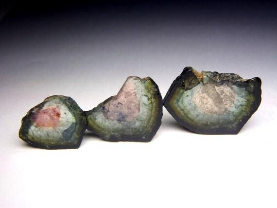 Set of Three Watermelon Tourmaline Slices